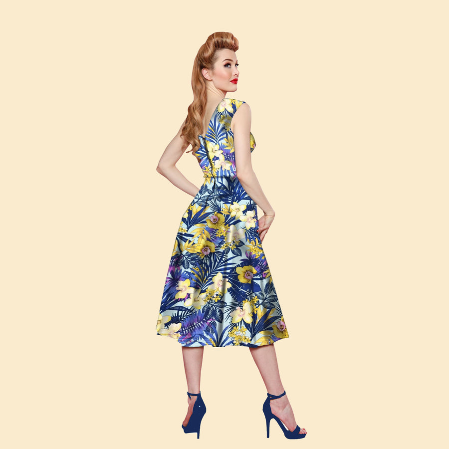 Bettie Page Roman Holiday Dress in Blue Paradise Print