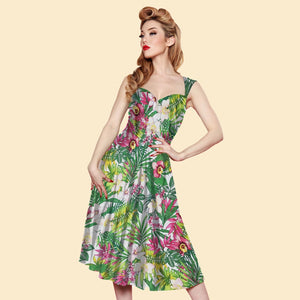 Bettie Page Roman Holiday Dress in Green Paradise Print