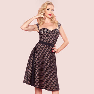 Bettie Page Roman Holiday Dress in Dot lace