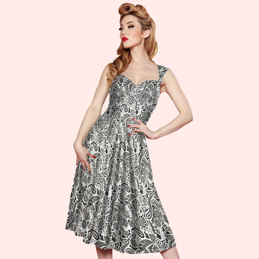 Bettie Page Roman Holiday Dress in Black and White Paisley