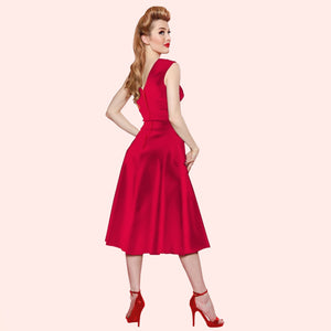 Bettie Page Roman Holiday Dress in Red