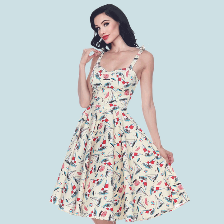 Bettie Page Albuquerque Dress in Sailboat Print