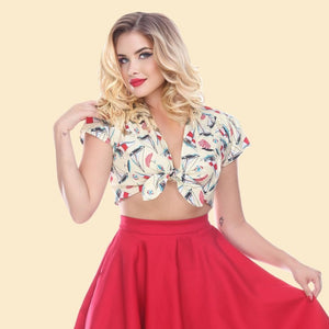 Bettie Page Wink Crop Top in Sailboat Print