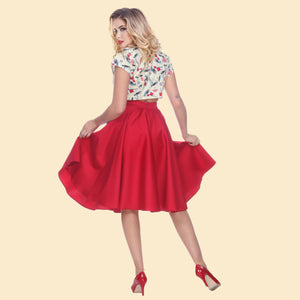 Bettie Page Swing Skirt in Red