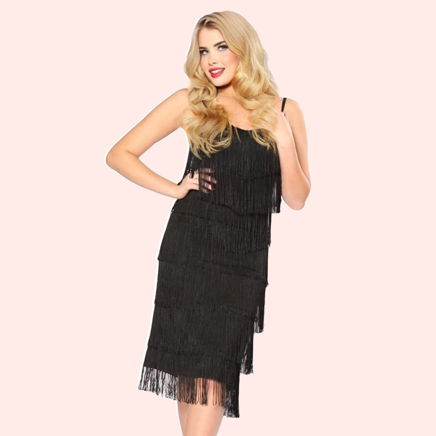 Bettie Page 1920's Flapper Fringe Dress in Black