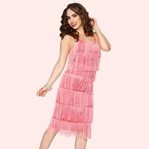 Bettie Page 1920's Flapper Fringe Dress in Coral