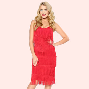 Bettie Page 1920's Flapper Fringe Dress in Red