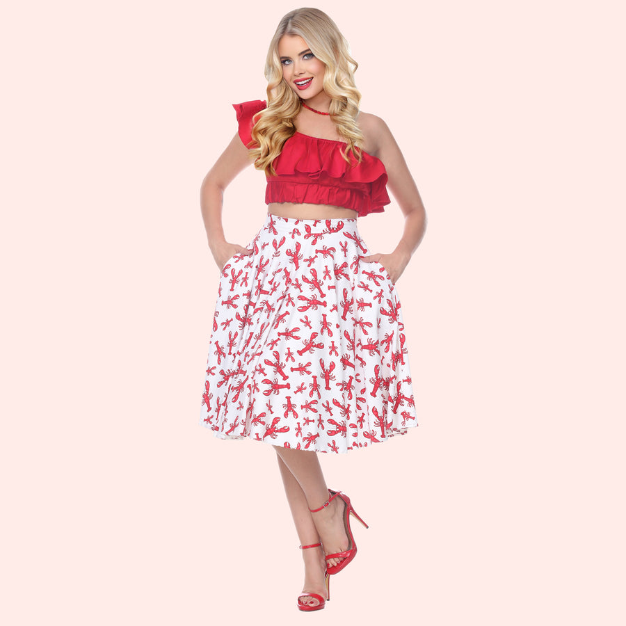 Bettie Page Lobster Print Swing Skirt with Pockets