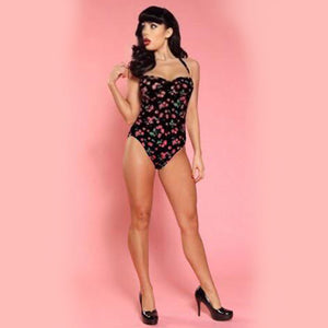 Bettie Page Vintage Style Black Cherry Print Halter One Piece Swimsuit