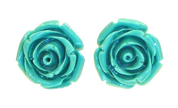 BOGO!  Kinny & Howie Accessories Teal Rose Stud Earrings