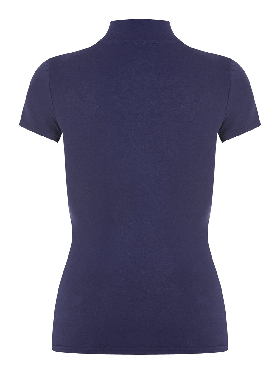 Bright & Beautiful TJ Navy Turtle Neck Short Sleeve Mod Style Top