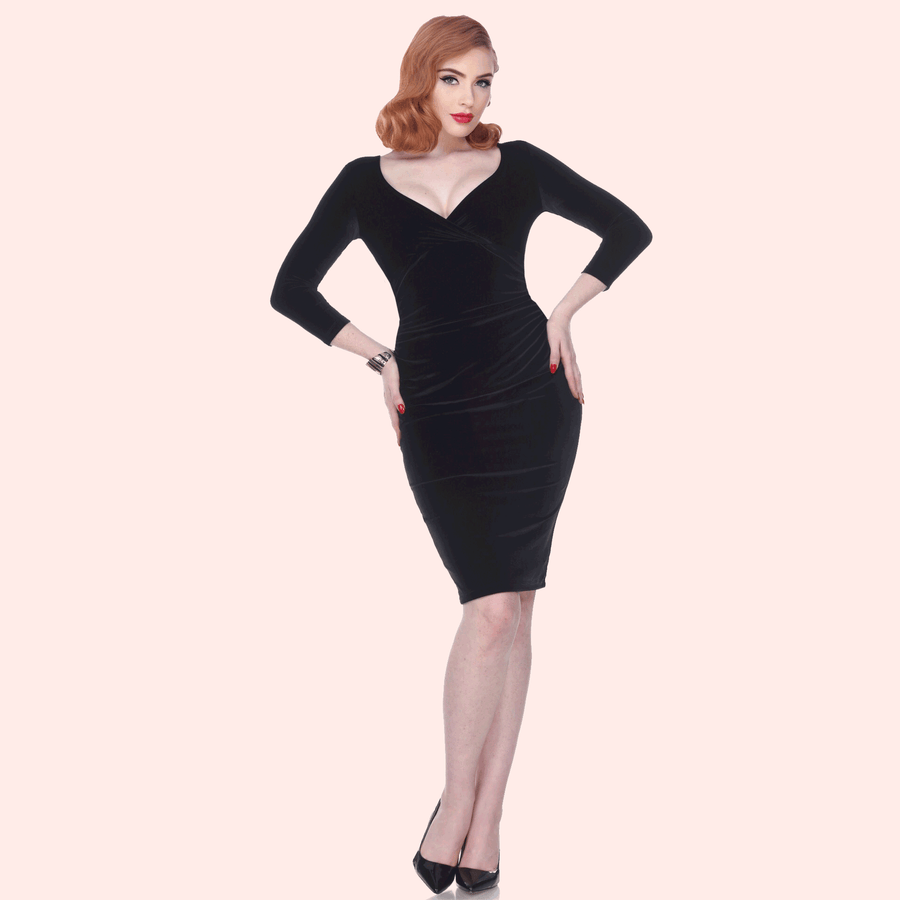 Bettie Page Stretch Velvet 3/4 Sleeve Wiggle Dress in Black