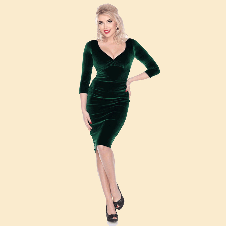Bettie Page Stretch Velvet 3/4 Sleeve Wiggle Dress in Emerald Green