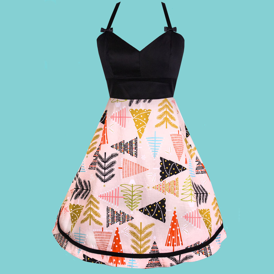 Sweetheart Dress in Holiday Tree Print