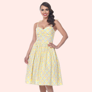 Bettie Page Deena Dress In Sunshine Plaid