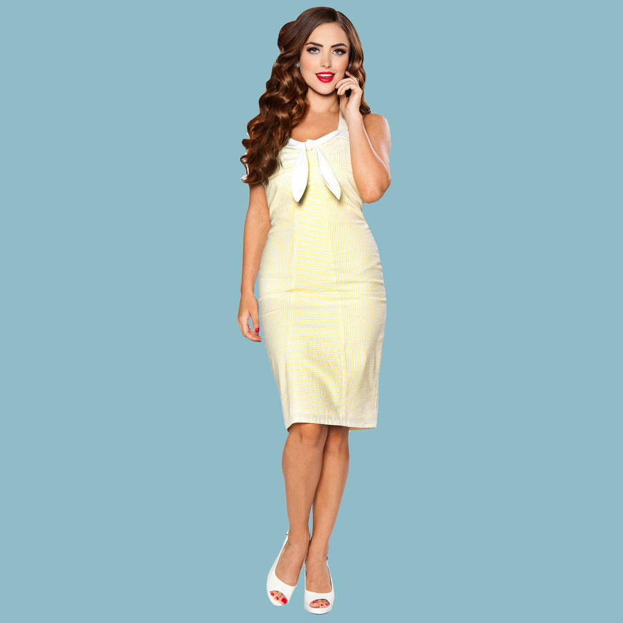 Bettie Page Yellow Pinstripe Pencil Sailor Dress
