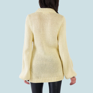 Kinny & Howie Yellow Pullover Oversized Bell Sleeve Sweater