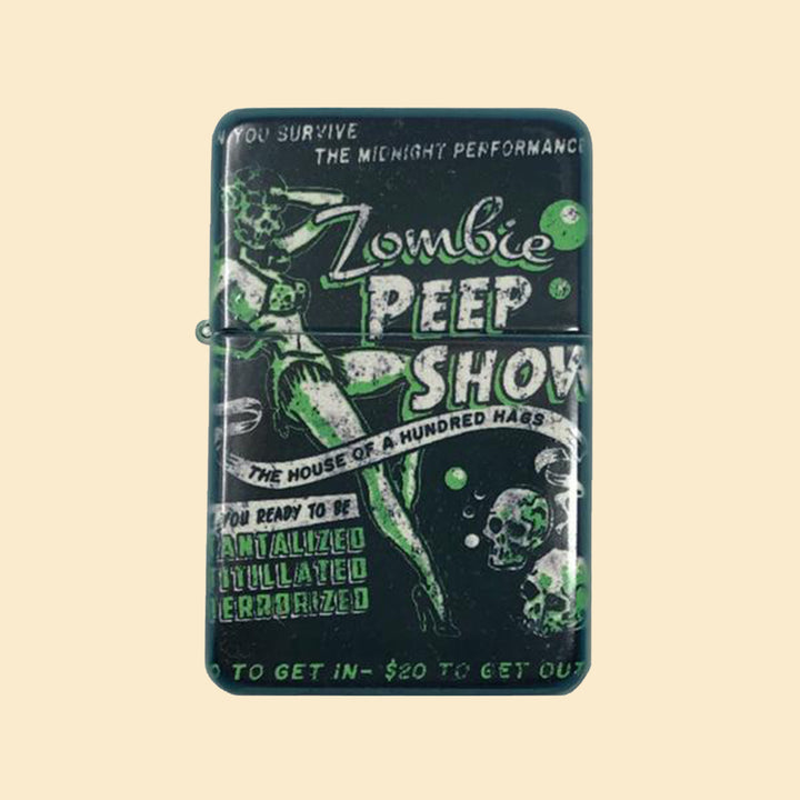 Zombie Peep Show Windproof Lighter with Tin