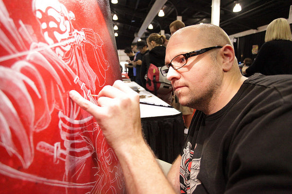 David Lozeau Painting a Samurai