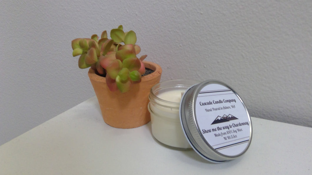 Closeout 3.5oz Soy Candle Show me the way to Chardonnay
