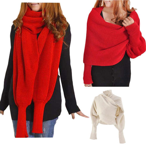 Sansany.com Crochet Knitted Scarf Shawl with Sleeves
