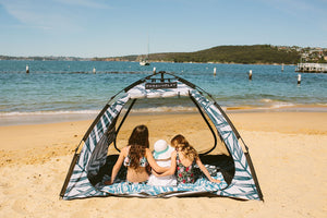 Our beach tents stop you from getting sunburnt – Seek shade