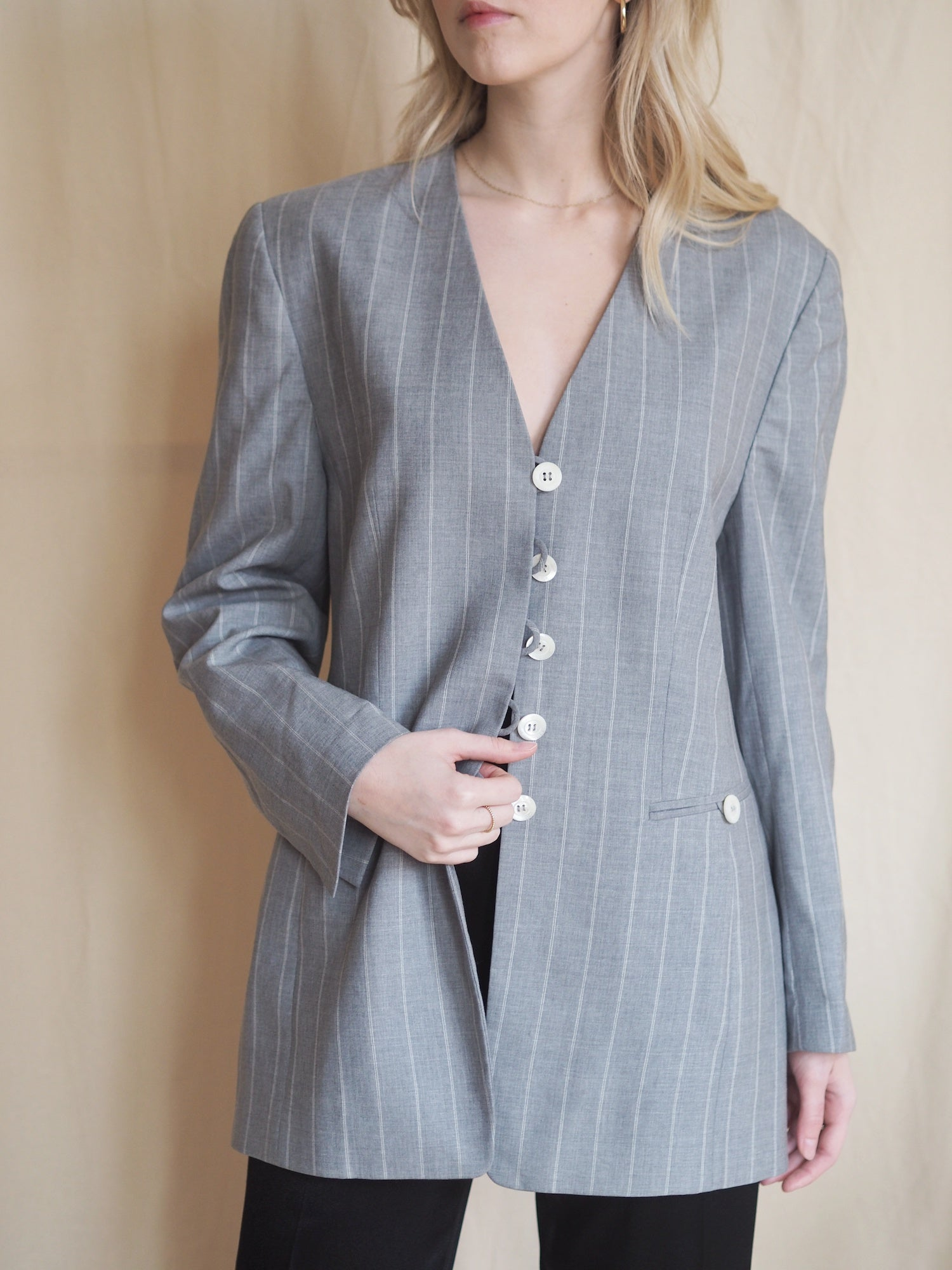 Striped New Wool Blazer