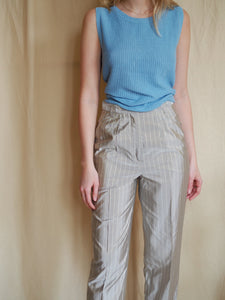 Tapered Silk Blend Trousers