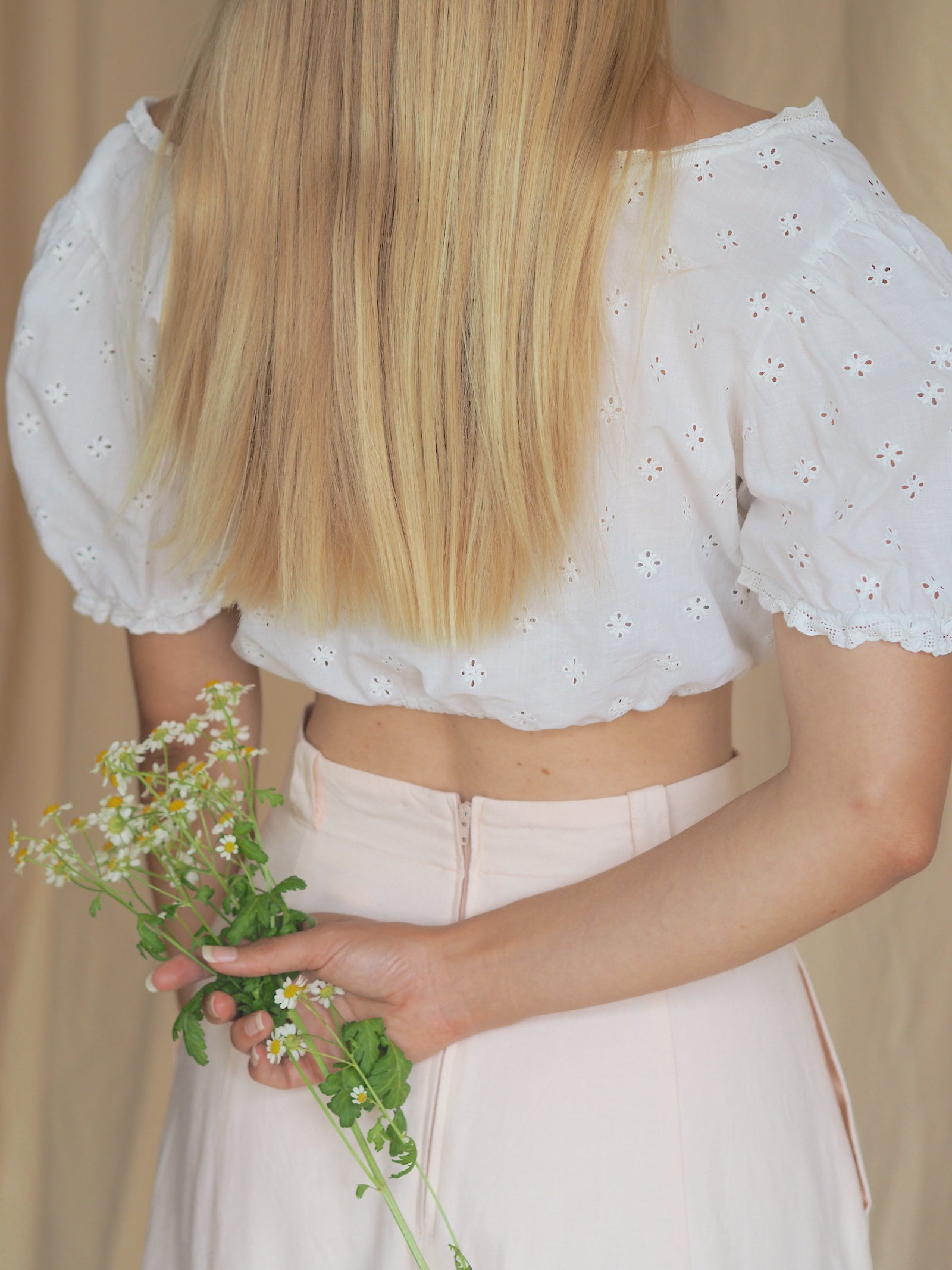 Flower Embellished Crop Blouse
