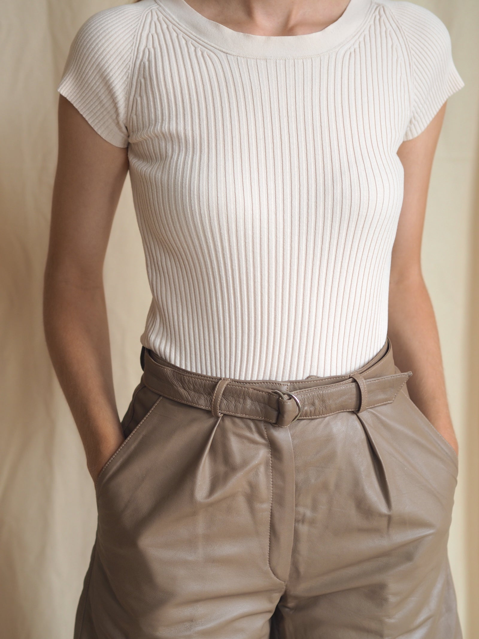 Ribbed Stretch-Jersey Top