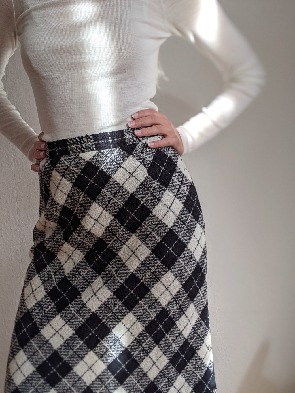 Checked A-Line Wool Skirt