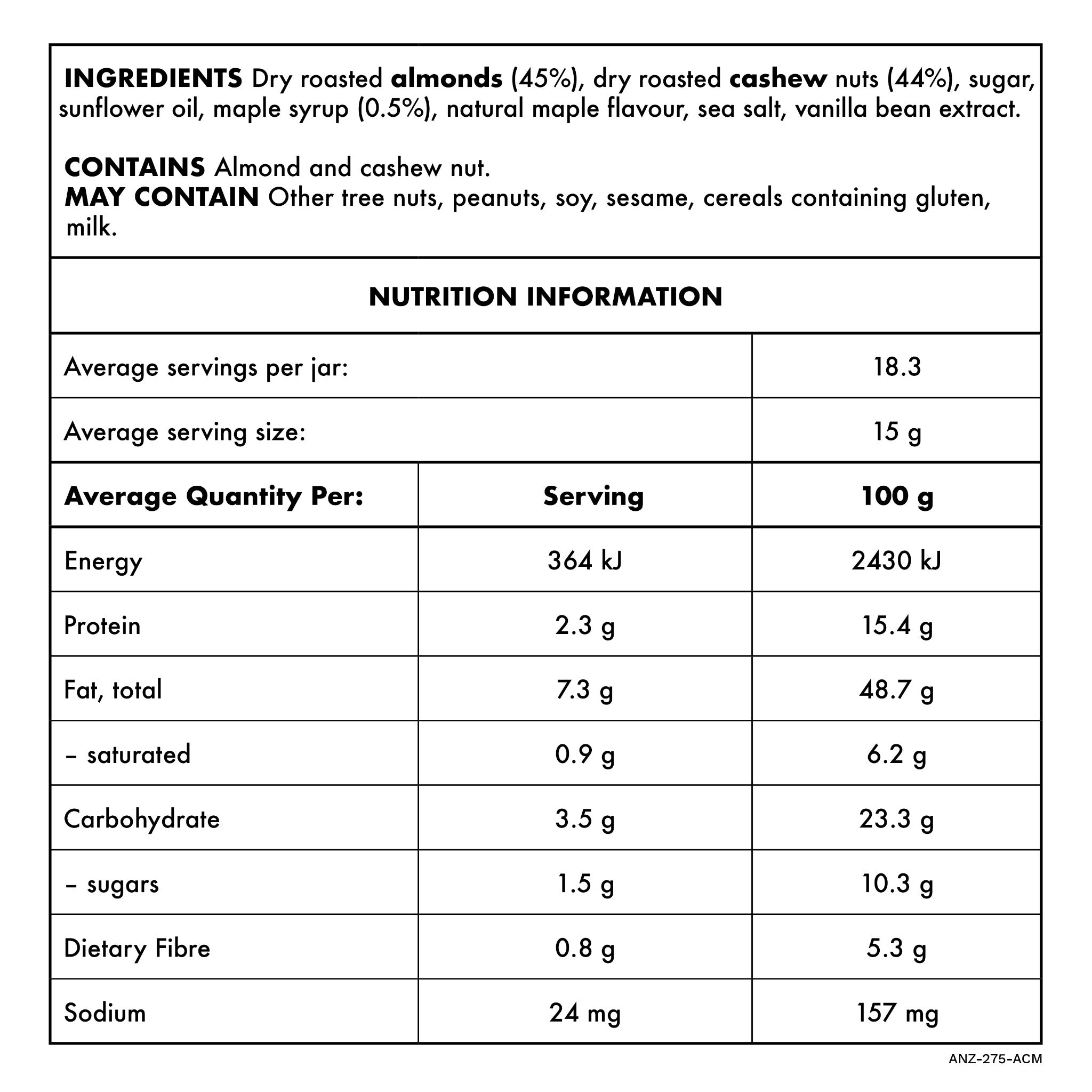 Almond Butter with Cashew and Maple 275g Nutritional Information