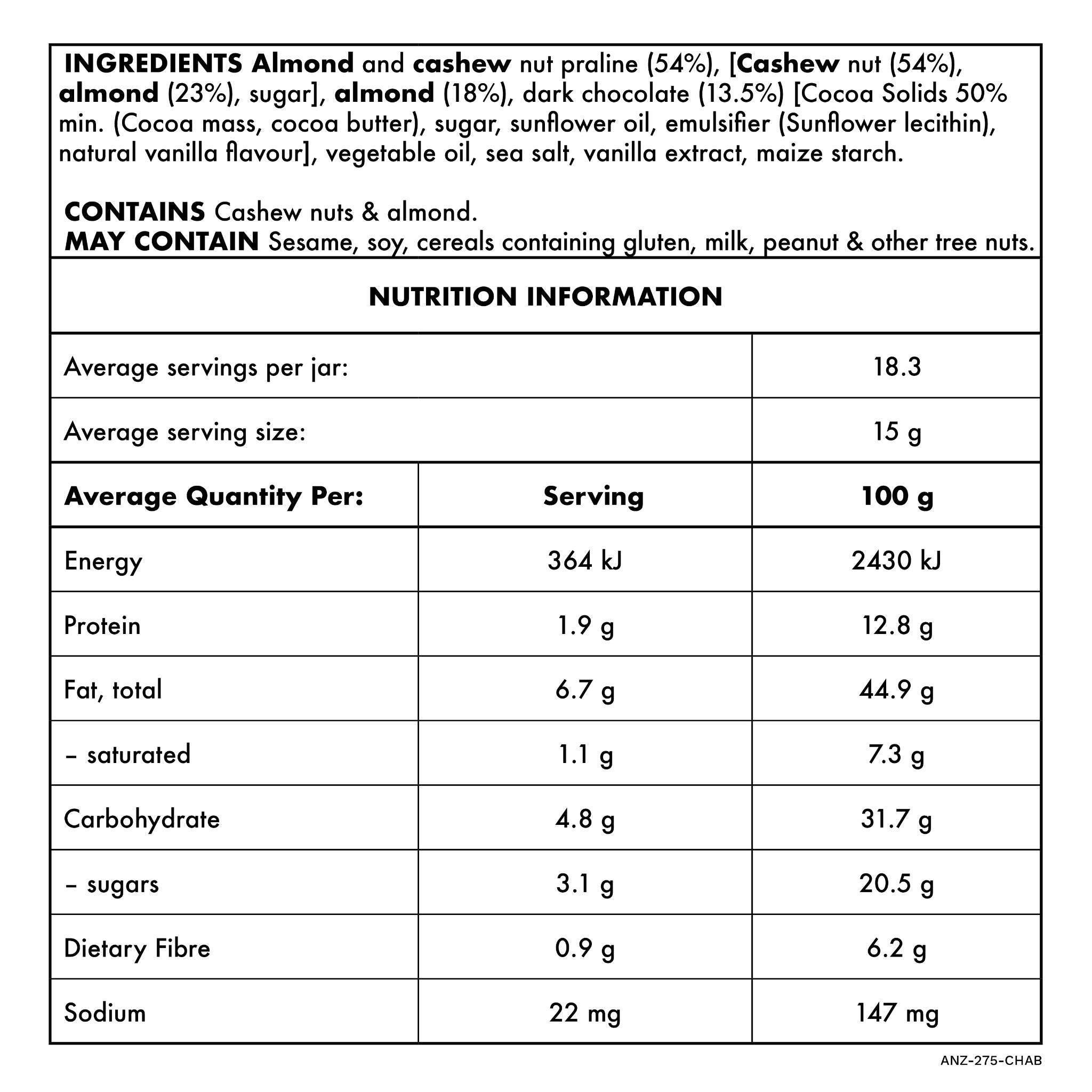 Chocolate Almond 275g Nutritional Information