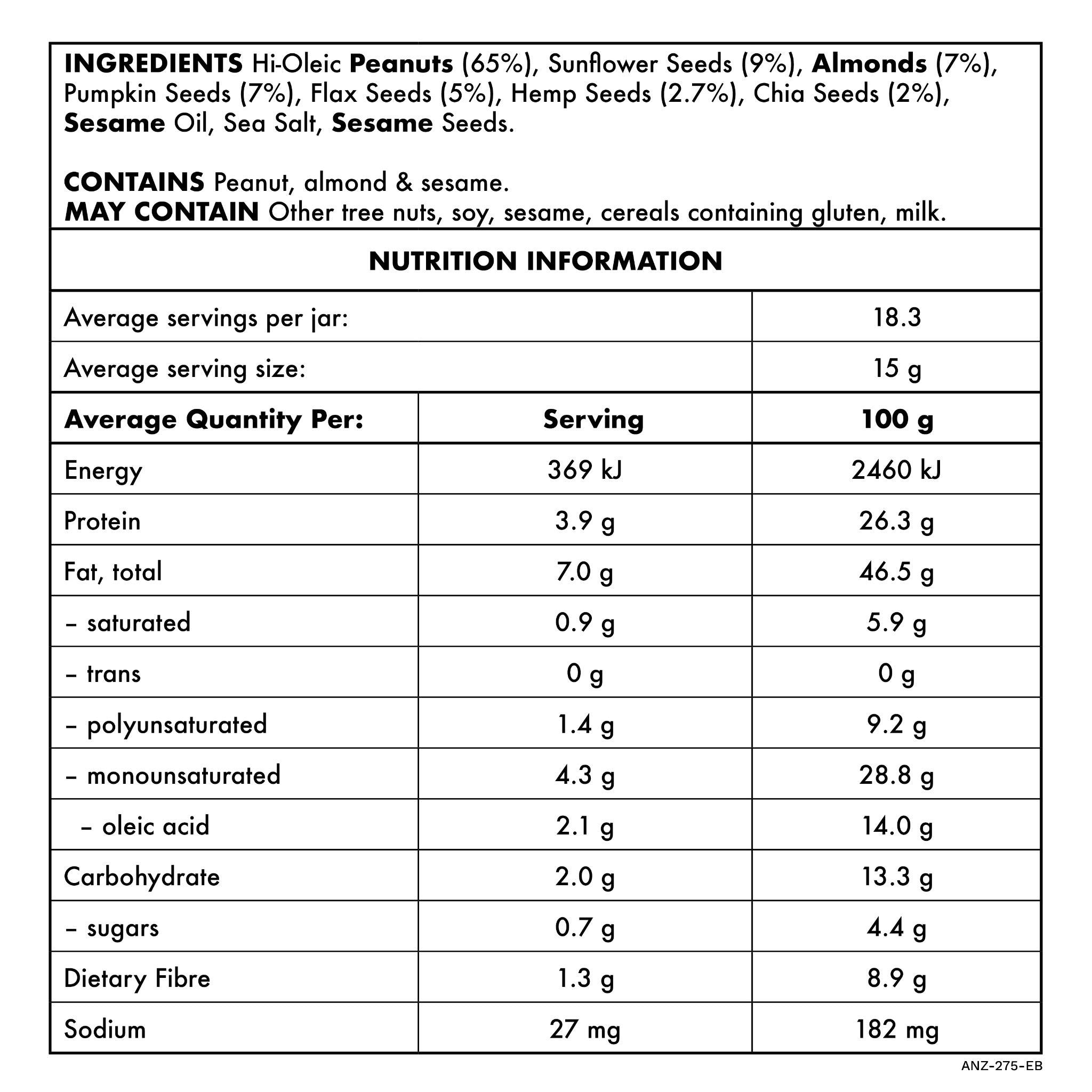 Everything Butter 275g Nutritional Information