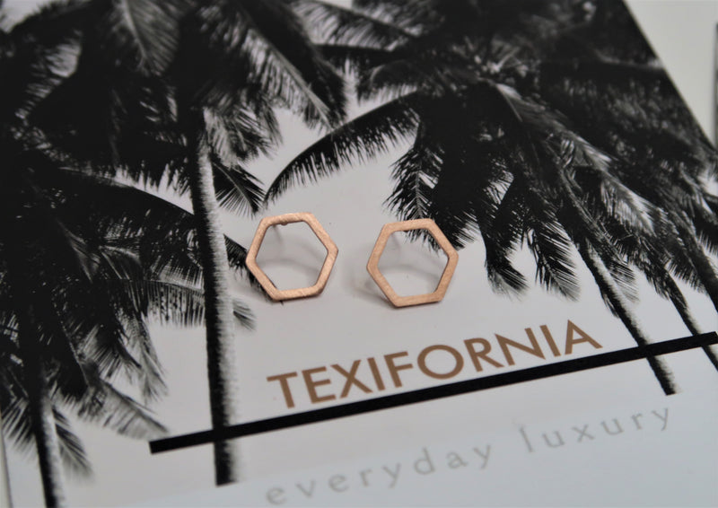 DALLAS COLLECTION The HEX Studs- Rose Gold