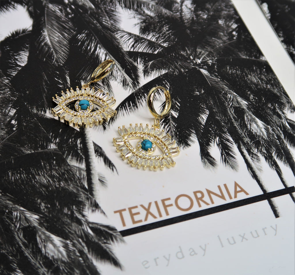 TEXIFORNIA SIGNATURE CRYSTAL EYE MINI HOOPS