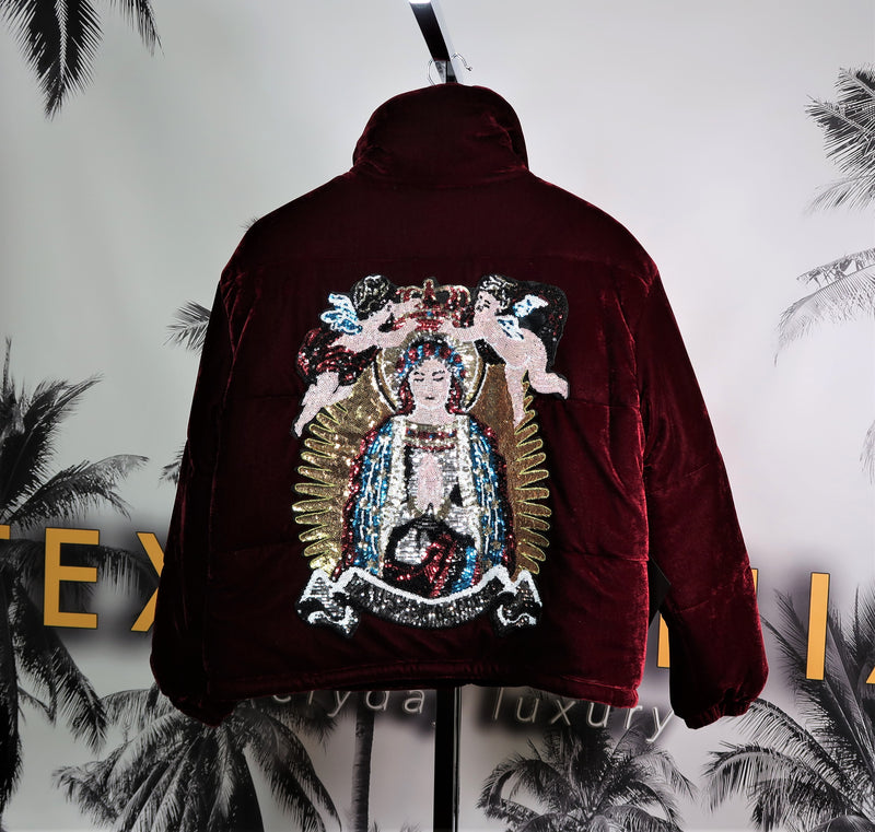 ANGELS & SAINTS VELOUR PUFFER JACKET