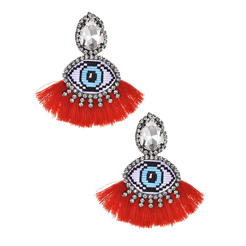 MALIBU CRYSTAL HEART FRINGE EARRINGS