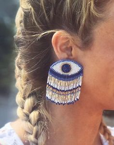MALIBU LARGE EYE BEADED FRINGE EARRING