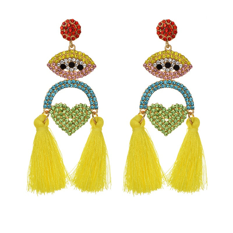 MALIBU CRYSTAL TASSEL EARRINGS