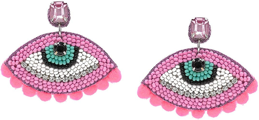 MALIBU EYE POM POM EARRINGS
