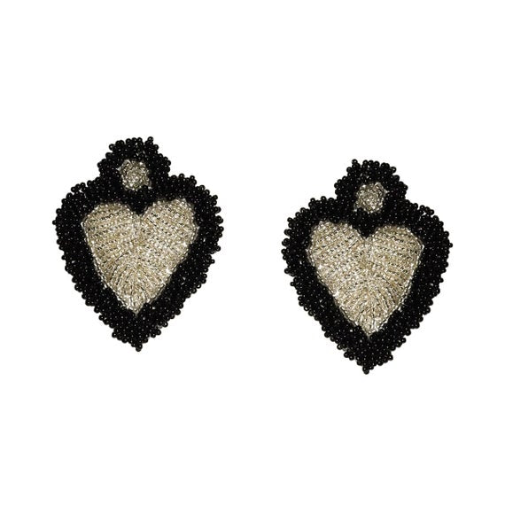 MALIBU SILVER HEART BEADED FRINGE EARRINGS