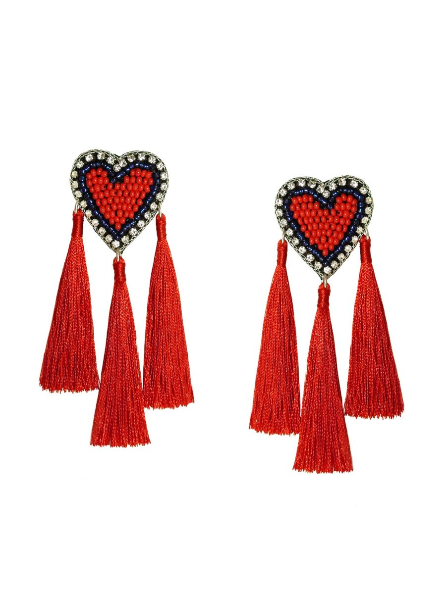 MALIBU HEART TASSEL EARRINGS