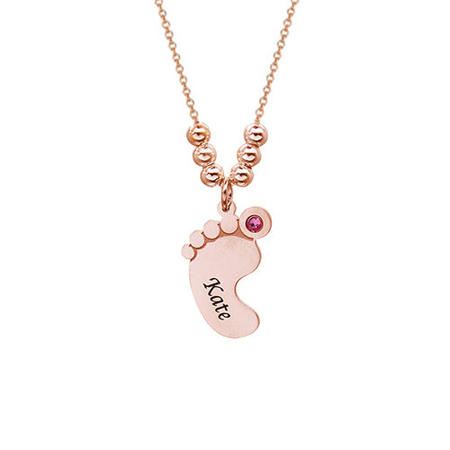 18K Gold Feet Name Baby Necklace With Birthstone - Silviax