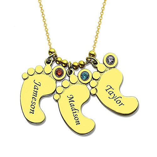 18K Gold Baby Feet Charm Necklace With 3 Names