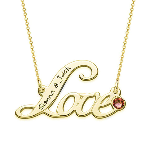 "18K Gold Plante Birthstone ""Love"" Name Necklace - Silviax"