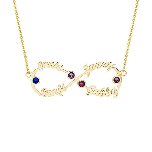 Silver Infinity Name Necklace With 4 Birthstone