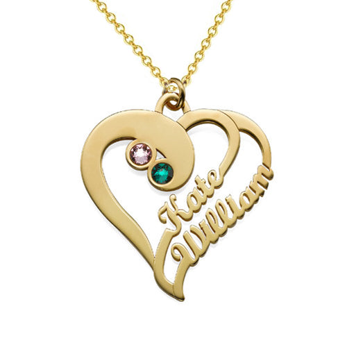 Custom Heart Two Name Necklace 18K Gold Plating