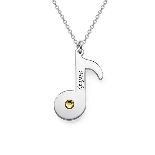 Silver Engraved Music Note Necklace with Birthstone