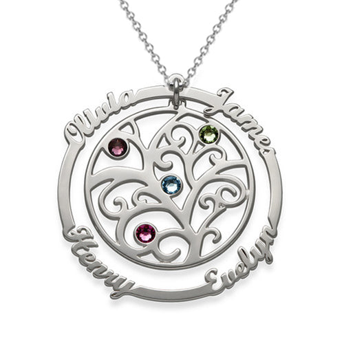 Silver Birthstone Family Tree Necklace With 4 Name for mother